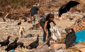 Venezolanos disputan restos de comida con buitres en un basurero en Paracaima (Fotos)