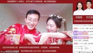 """Una pareja china transmite su boda en línea por el covid-19 y """"reúne"""" a 3 millones de invitados (Fotos y Video)"""