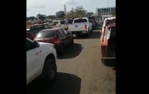 La KILOMÉTRICA cola de usuarios para echar gasolina en Bolívar este #9Abr (Video)