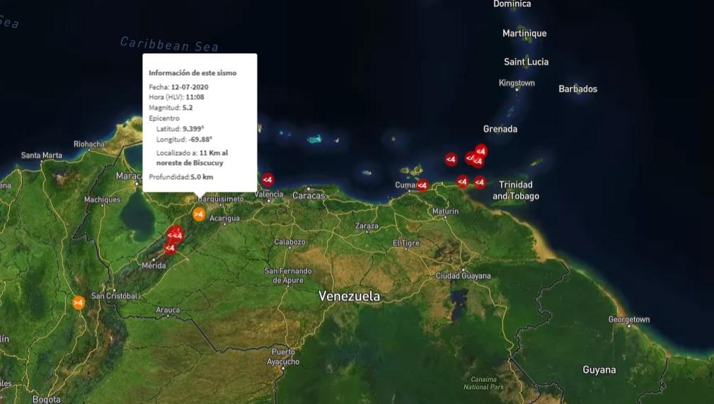 Después de media hora, Funvisis reportó el sismo de 5.2 que sacudió varios estados del país