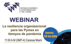 La resiliencia organizacional para las Pymes en tiempos de pandemia se abordará en Webinar del SELA