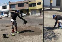¡Grande! Venezolano con pierna ortopédica sobrevive asfaltando calles durante la pandemia en Perú