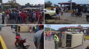 En Boca de Uchire le voltearon la camioneta a unos militares en protesta por falta de gasolina (FOTOS)